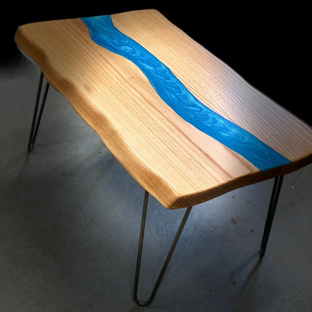 White Oak and Blue Resin River Table
