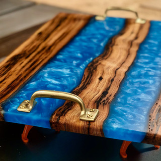 1880's Barnwood Serving Tray Poured with Blue Resin