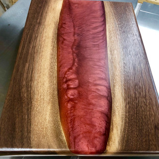 Black Walnut and Red Resin Cutting Board