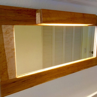 Lighted Birdseye Maple Hall Mirror