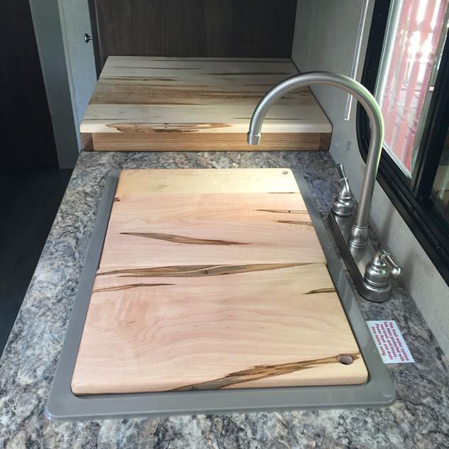 Custom Ambrosia Maple Stove Top abd Sink Cover Cutting Boards