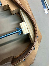 Another view of the mahogany guitar kerfing