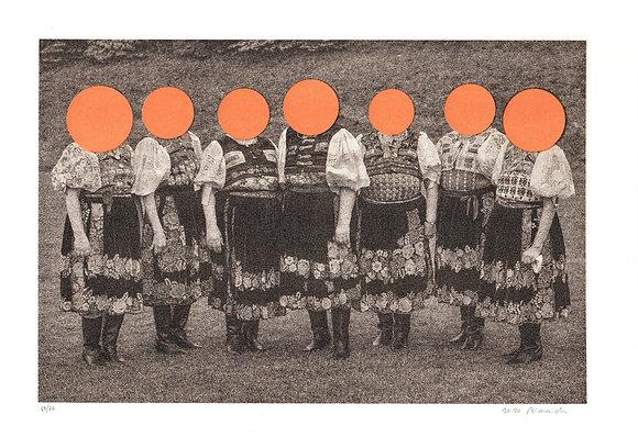 Folklórne dámy I. - Ján Viazanička, risografika