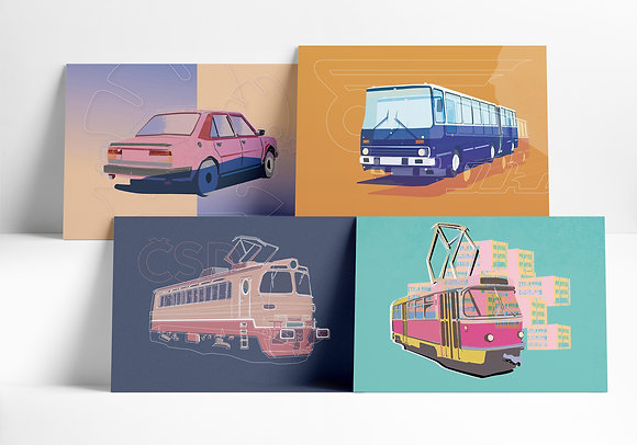 Vozový park – set 4 grafik
