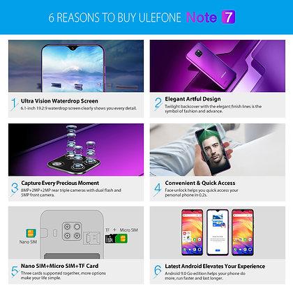 Ulefone Note 7 Smartphone  Quad Core 6.1inch  Waterdrop Screen 16GB ROM