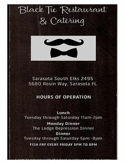 Sarasota Elks #2495 Menu 1