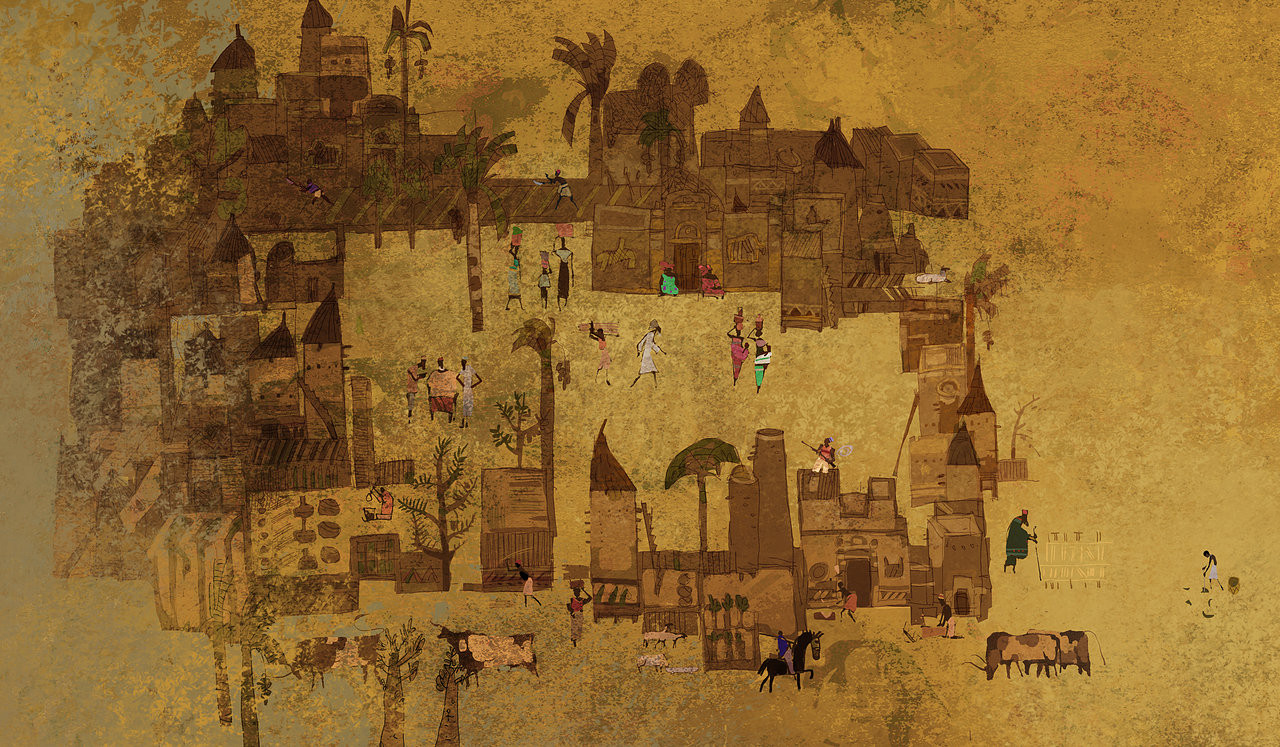 The village on the cave wall.