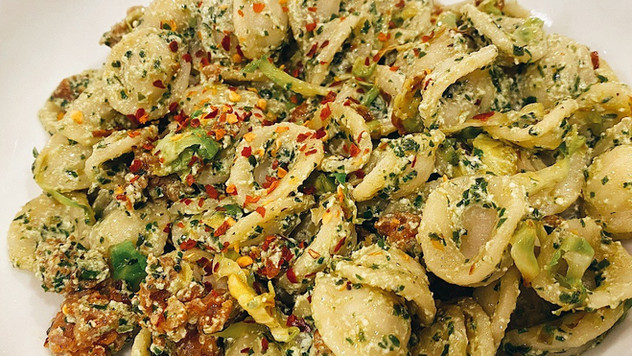 Orecchiette Pasta with Pesto Ricotta and Shaved Brussels Sprouts