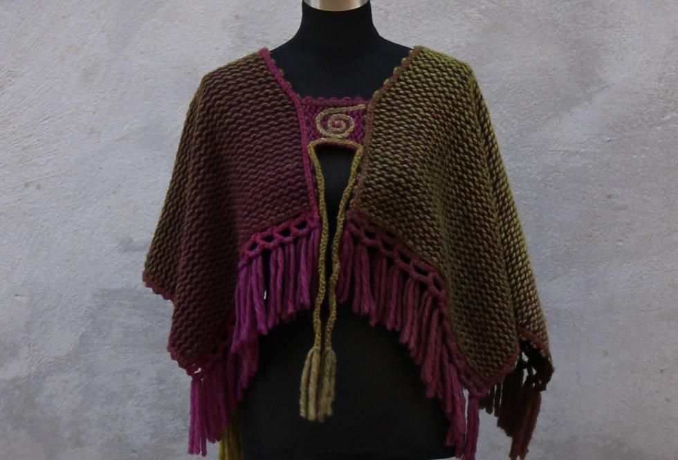 blueberry bush knitted spellbinder saddleback poncho