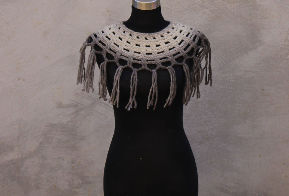 storm cloud coloured crocheted sampo knit lace collar