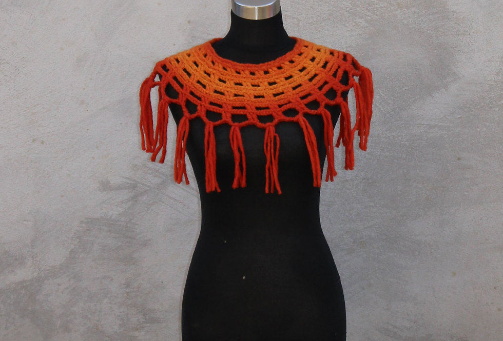 saffron coloured crocheted sampo knit lace collar