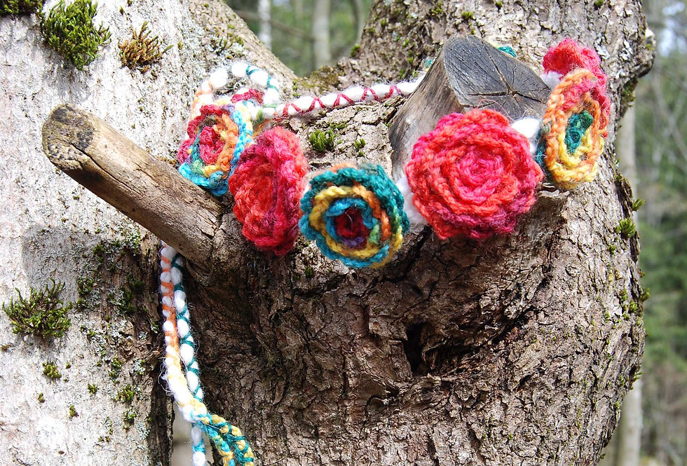 Folklore coloured crocheted bed of roses tiara