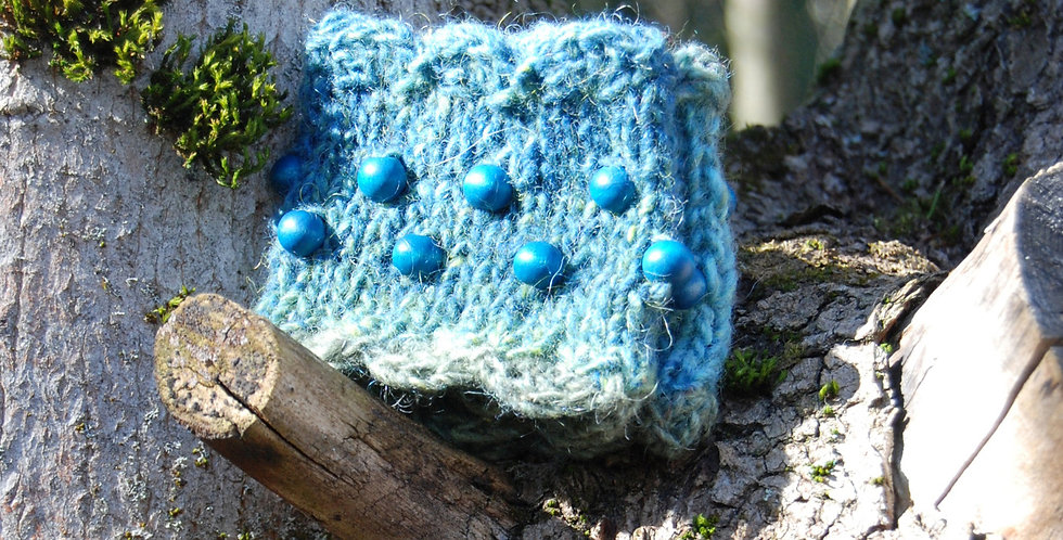 Turquoise knitted forest nymph wristwarmers