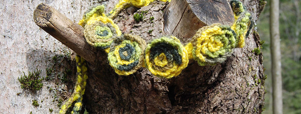 Green gold crocheted bed of roses tiara