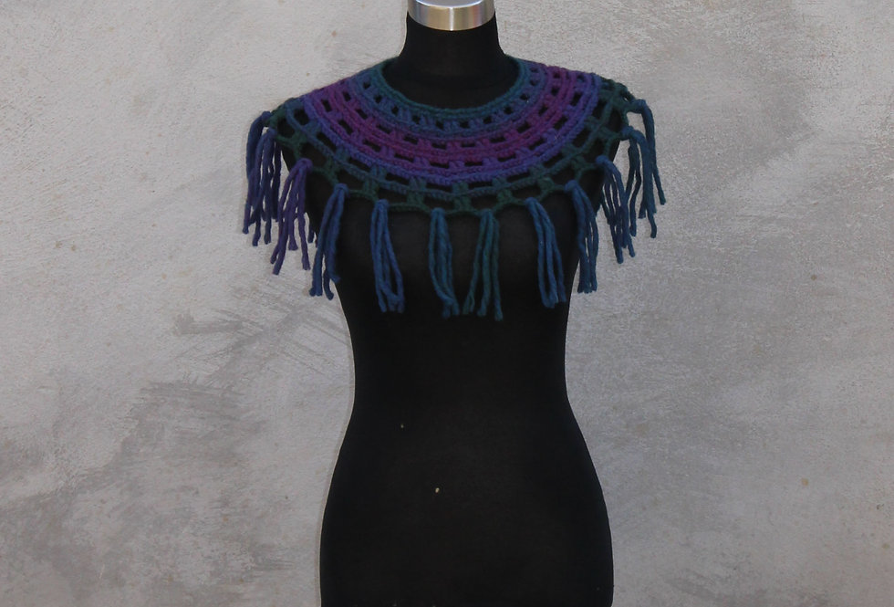 night sky coloured crocheted sampo knit lace collar