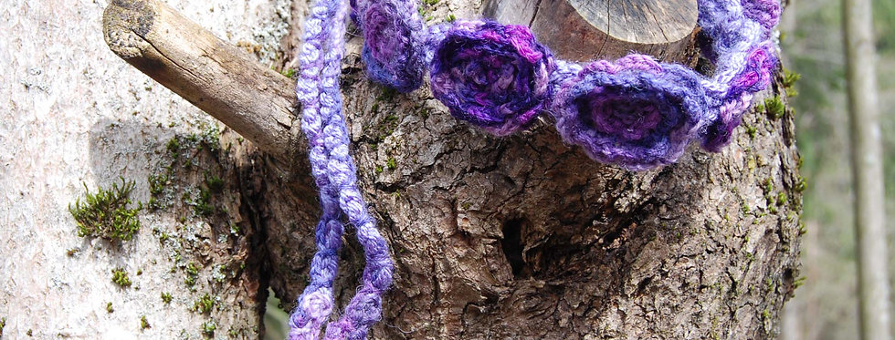 violet crocheted bed of roses tiara