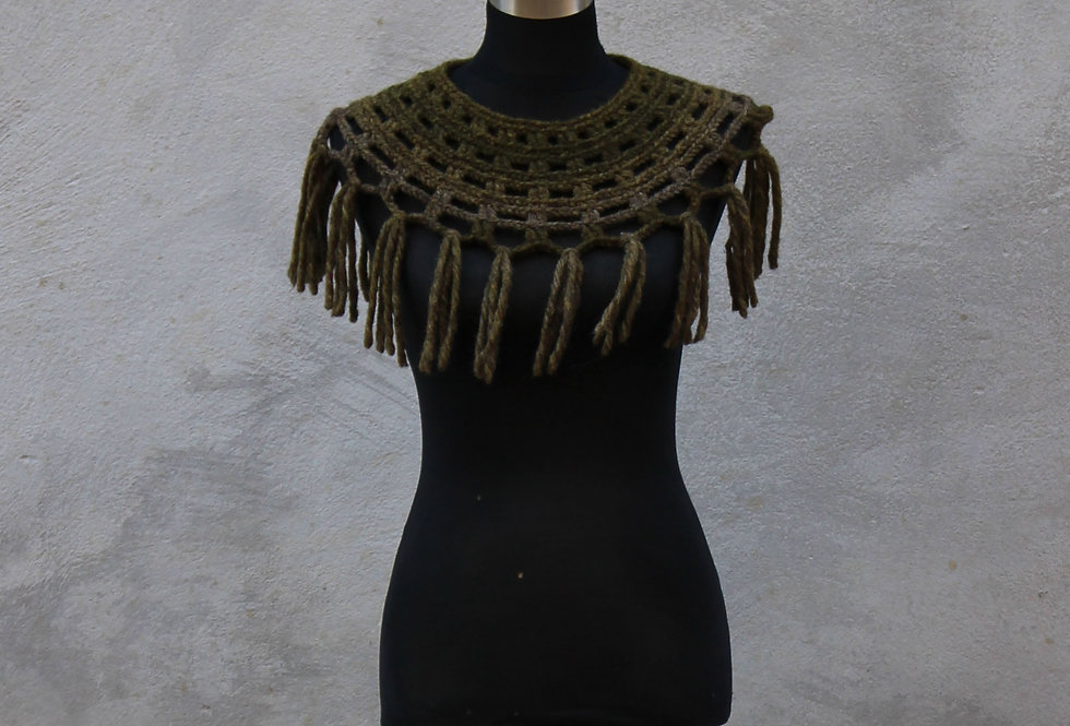 Earth coloured crocheted Sampo knit lace collar