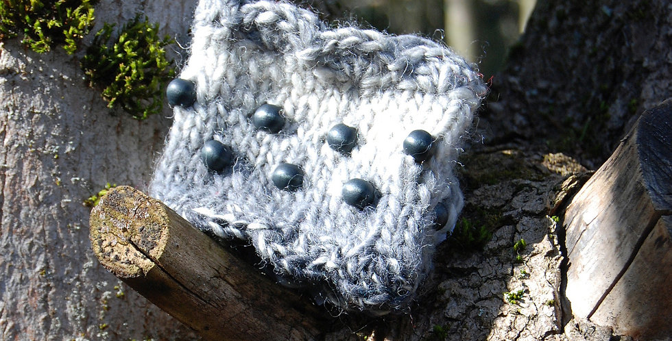Grey knitted forest nymph wristwarmers