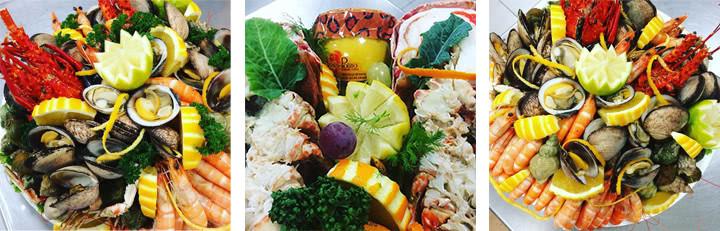 Différentes compositions de plateaux de fruits de mer élaborées par la poissonnerie la capitainerie à Cernay (68)