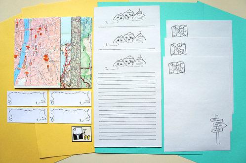 Set de escritura mapas (esquelas) / Paperfest