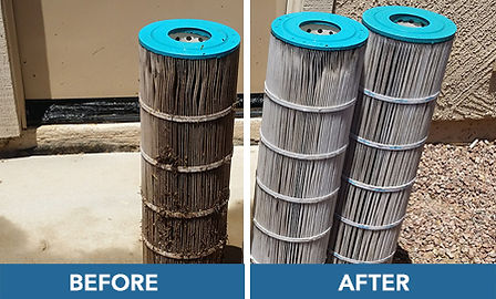 pool filter cleaning: before + after