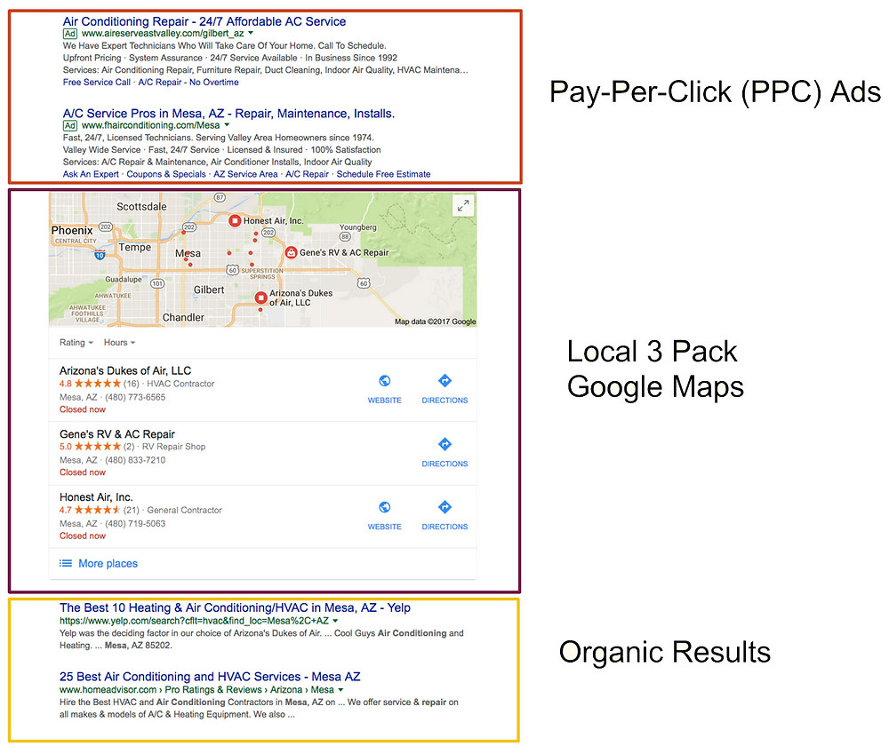 search results with google maps