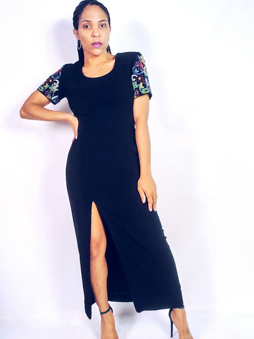 Beaded Sleeve Black Dress