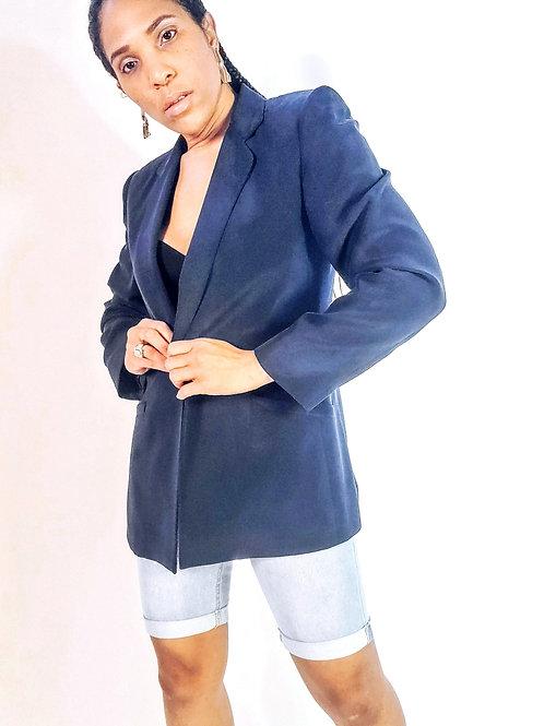 Navy Silk Blazer