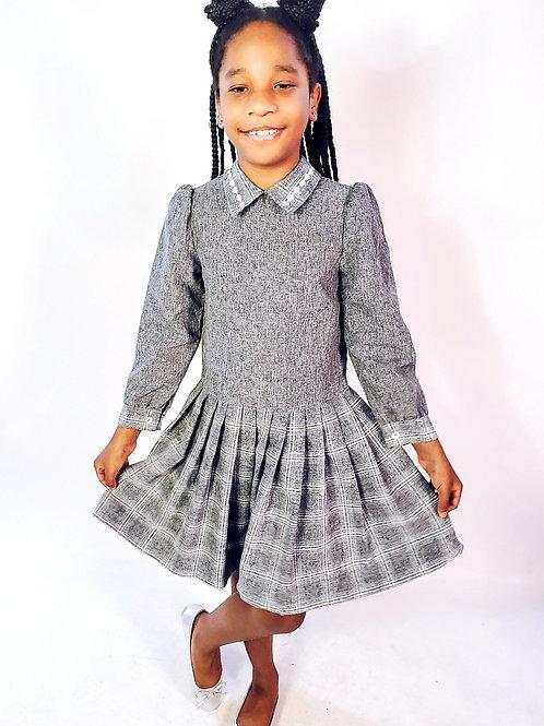 Pleated Plaid Dress