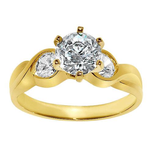 14k Yellow Gold 1 1/2ct TGW Round-cut Diamonette Engagement Ring