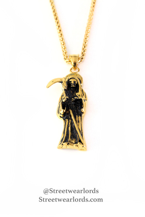 Grim reaper pendan chain 2 streetwearlords brand new 14k plated grim reaper pendant chain very popular right now has been seen on numerous celebrities the chain measures 22 inches long and the aloadofball Gallery