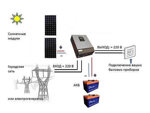 """Солнечная электростанция  """"ХиС на Даче"""" MPPT (2*200) GEL"""