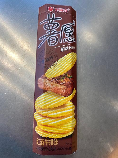Potato Wish Crisps Red Wine Steak Flav 薯愿红酒牛排味