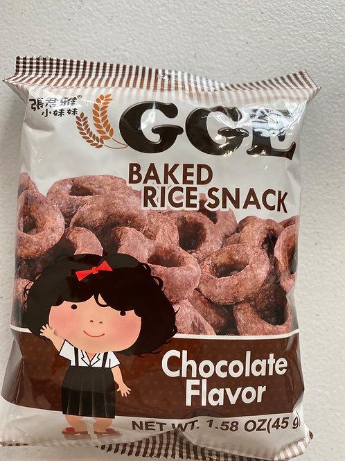 GGE Baked Rice Snack Chocolate Flav 张君雅小妹妹巧克力圈