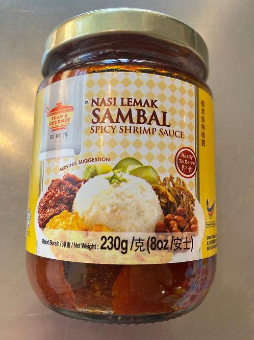 Tean's Gourment Nasi Lemak Sambal Spicy Shirmp Sauce 田师傅椰浆饭辣椒酱230g