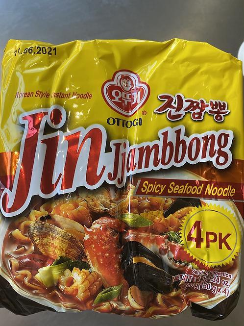 Ottogi Jin Jiambbong Spicy Seafood Noodle 4PK