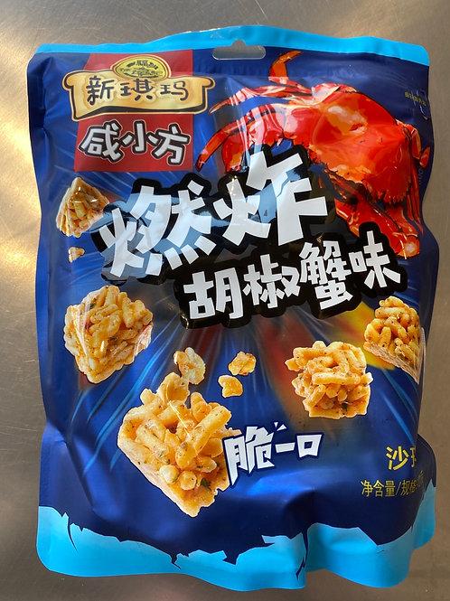 HSU Sachima -Pepper Flavour 121g新沙琪玛咸小方燃炸胡椒蟹味