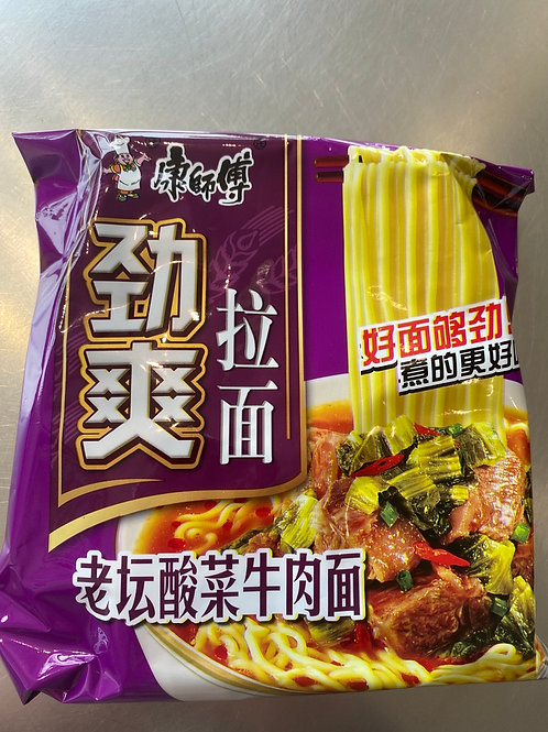 KSF Pickled Mustard Green With Beef Flav Noodle 康师傅劲爽老坛酸菜牛肉面85g