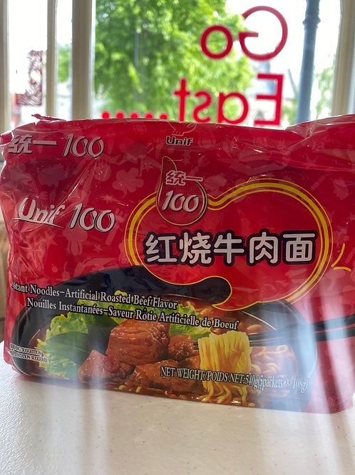 Unif 100 Instant Noodles Roasted Beef Flav 5pcs红烧牛肉面