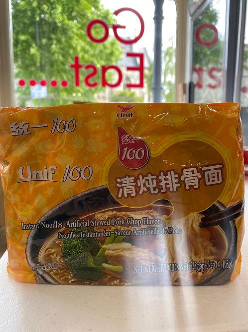 Unif 100 Instant Noodles Stewed Pork Chop Flav 5pcs 清炖排骨面