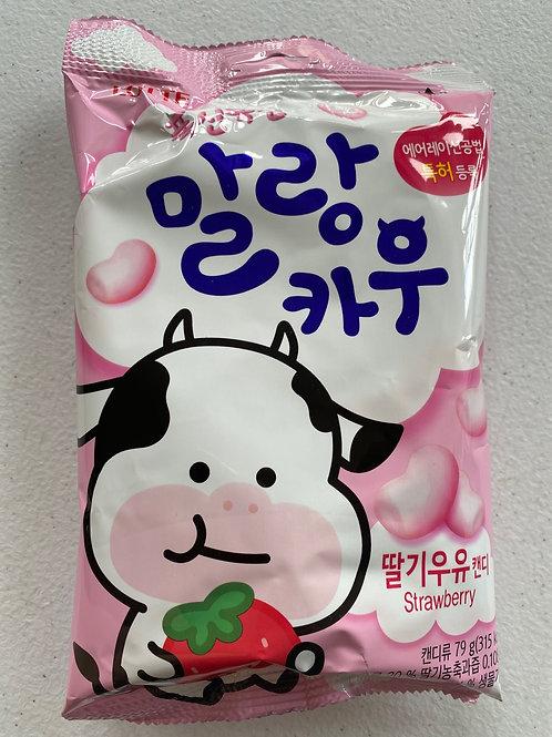 Lotte Mallang Cow Chewing Candy -Strawberry 63g 韩国乐天嚼嚼糖草莓