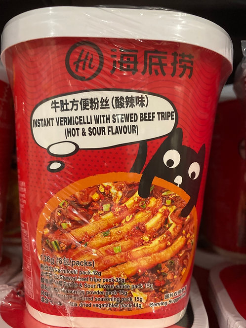HDL Instant Vermicelli With Stewed Beef Tripe (Hot & Sour)海底捞牛肚方便粉丝酸辣味