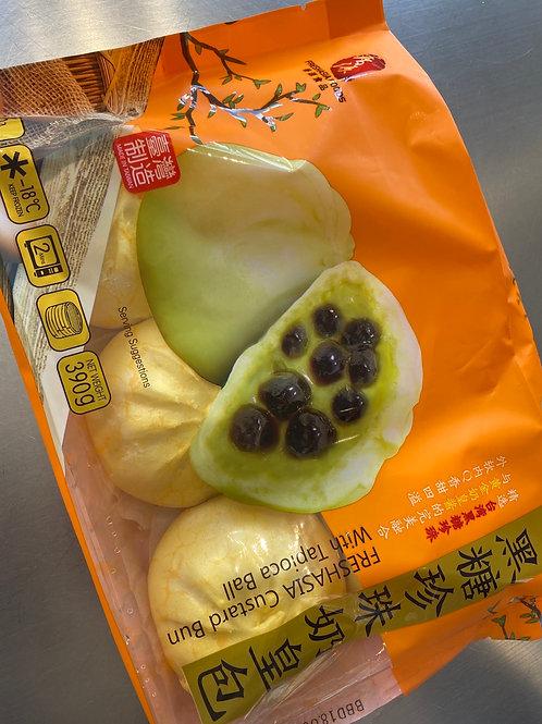 Freshasia Custard Bun With Tapioca Ball 黑糖珍珠奶黄包