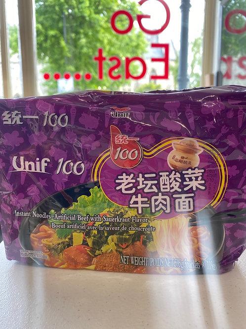 Unif 100 Instant Noodle Beef With Sauerkraut Flav 5pcs 老坛酸菜牛肉面