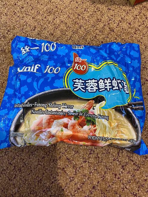 Unif is 100 Instant Noodles Furong Shrimp Flavour