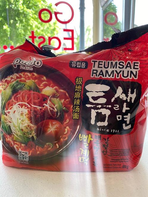 Paldo Teumsae Ramyun (Instant Noodles Rich Hot & Spicy)5pcs