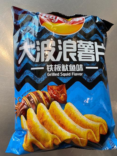 Lay's Big Wave Potato Chips Squid Flav 乐事大波浪铁板鱿鱼味薯片
