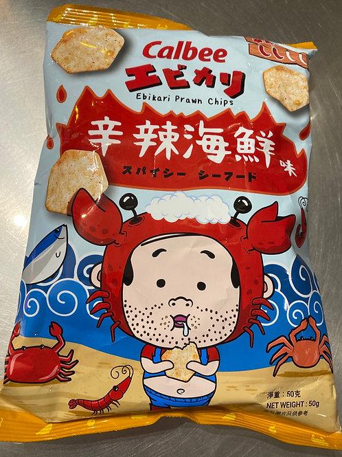 Limited Edition Calbee Spicy Ebikari Prawn Chips 50g 卡樂B 蝦之脆辛辣海鮮味蝦片