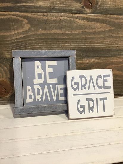 """Mini 5x5"""" Reversible Insert Be Brave/Grace& Grit"""