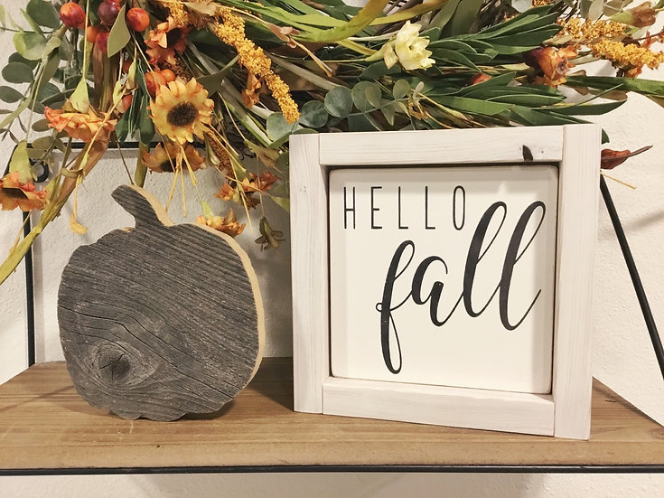 Hello Fall Mini Sign, Reversible Fall Sign, Football Wood Sign